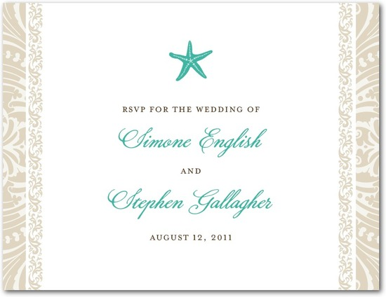 Wedding response postcards, Stylish Starfish