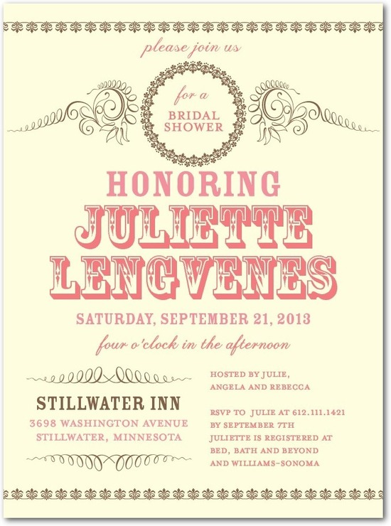 Signature ecru bridal shower invitations, Antique Affair
