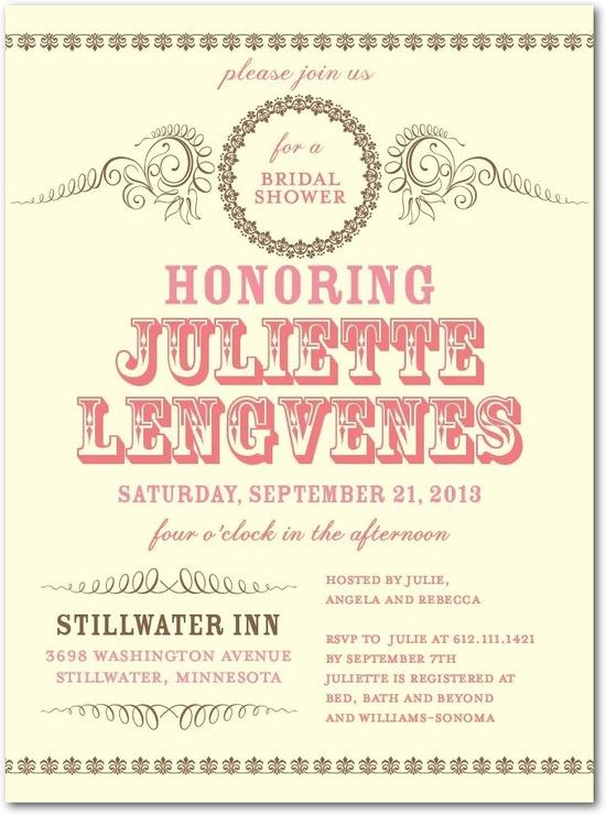 photo of Signature ecru bridal shower invitations, Antique Affair