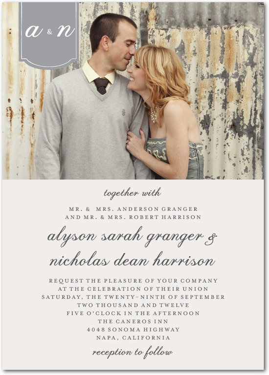 photo of Signature white wedding invitations, Romantic Tab