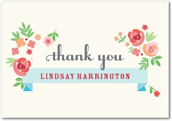Signature white thank you cards, Blooming Banner