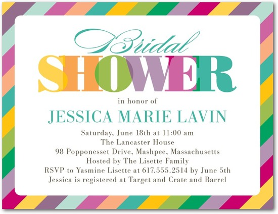 Bridal shower postcards, Rainbow Shower
