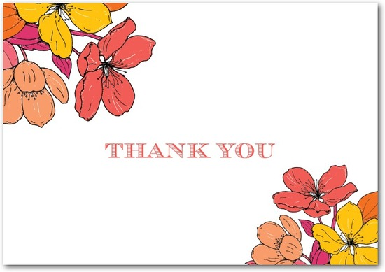 Signature white thank you cards, Bold Garden