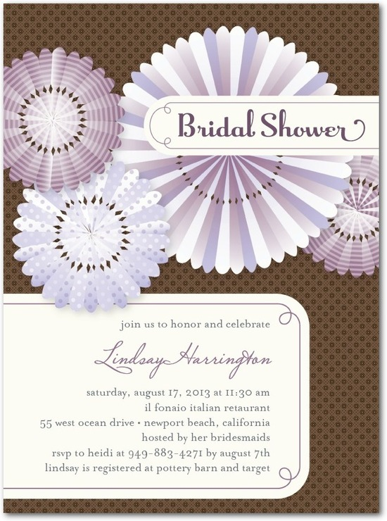 Signature white bridal shower invitations, Paper Fans