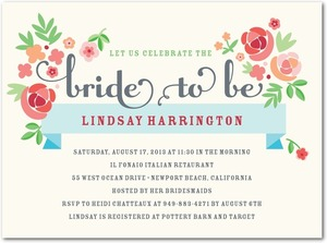 photo of Signature white bridal shower invitations, Blooming Banner