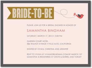 photo of Signature white bridal shower invitations, Little Bird Banner