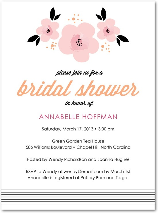 Signature white textured bridal shower invitations, Fair Floral