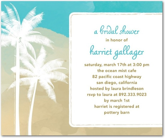Studio basics: bridal shower invitations, Swaying Palms