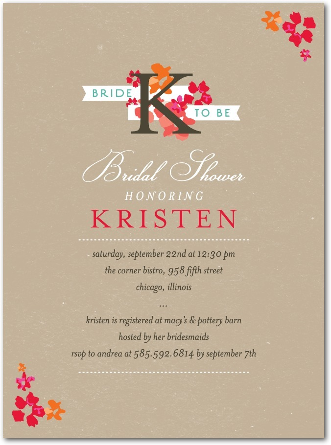 photo of Signature white bridal shower invitations, Initial Blooms