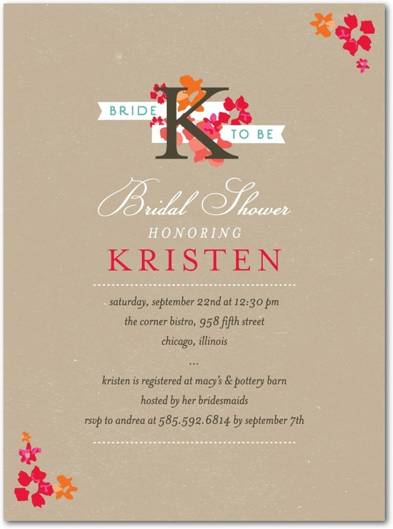 Signature white bridal shower invitations, Initial Blooms