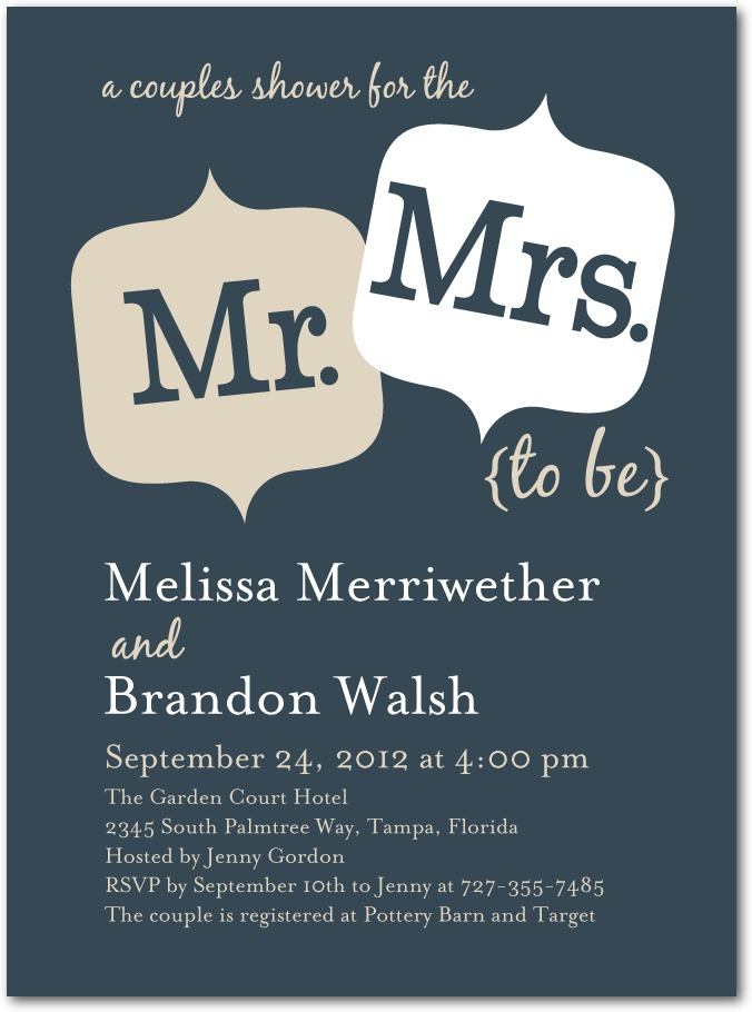 Signature White Bridal Shower Invitations Couple Cuteness