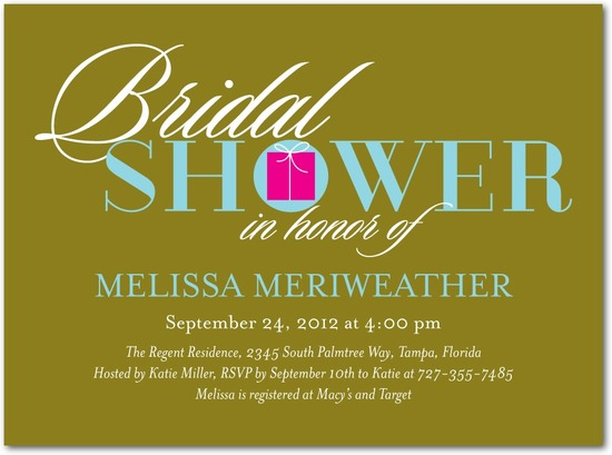 Signature white bridal shower invitations, Bowed Boxes