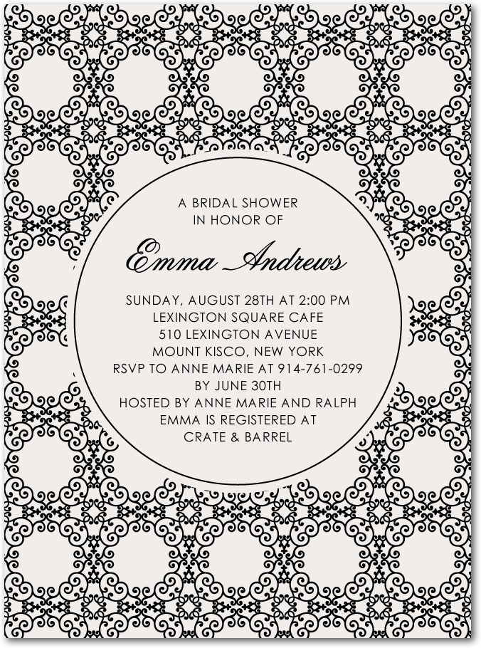 photo of Signature white bridal shower invitations, Scrolling Medallions