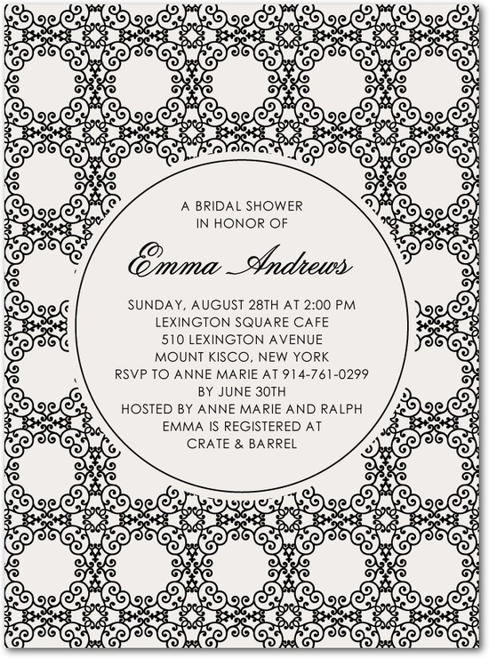 Signature white bridal shower invitations, Scrolling Medallions