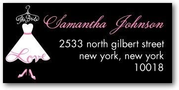 Personalized address labels, Love The Bride