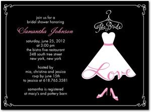 photo of Signature white bridal shower invitations, Love The Bride