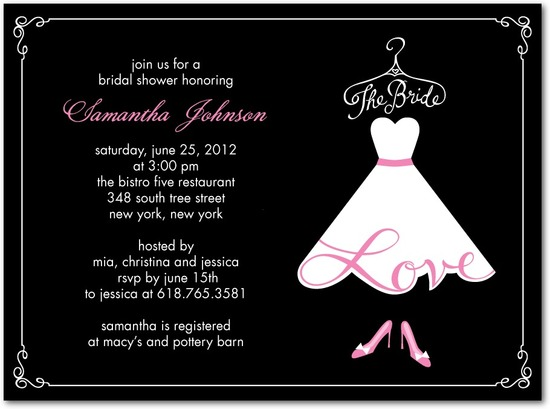Signature white bridal shower invitations, Love The Bride
