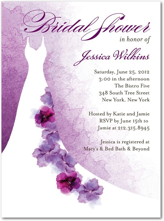 Signature white textured bridal shower invitations, Softly Gowned