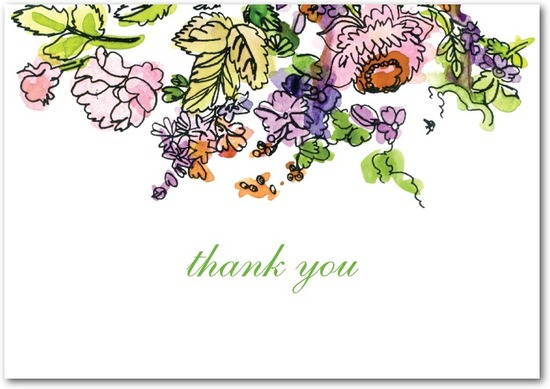 Signature white textured thank you cards, Painted Garden