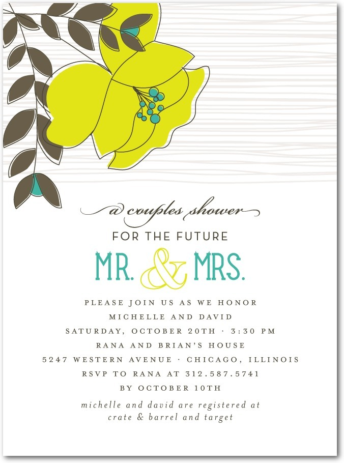 Signature white bridal shower invitations, Mister and Missus