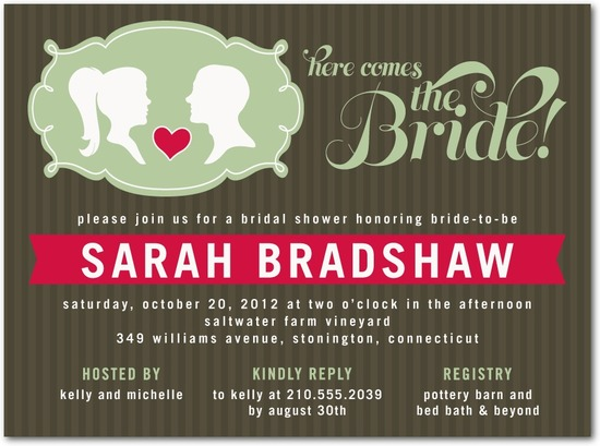 photo of Signature white bridal shower invitations, Stylish Silhouettes