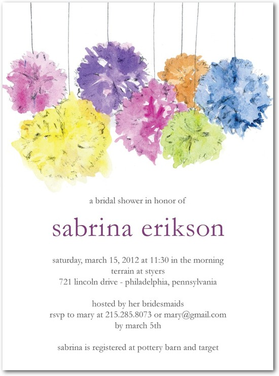 Signature white bridal shower invitations, Paper Poms