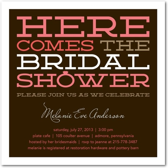 Signature white bridal shower invitations, Lovable Lettering