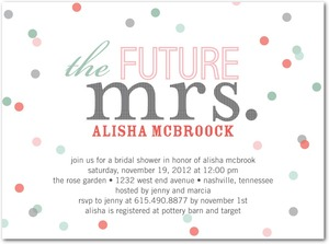 photo of Signature white textured bridal shower invitations, Future Title