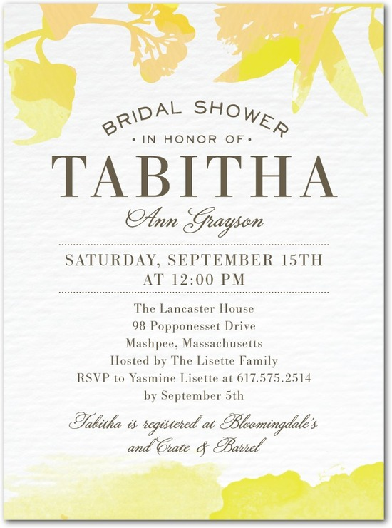 Signature white bridal shower invitations, Brushed Tropics