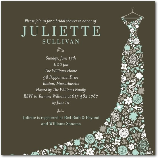 Signature white bridal shower invitations, Garden Gowned