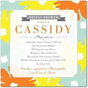 photo of Signature white bridal shower invitations, Punchy Floral