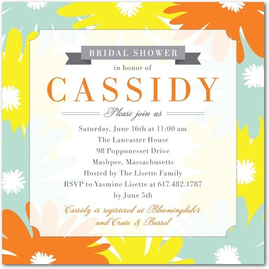 Signature white bridal shower invitations, Punchy Floral