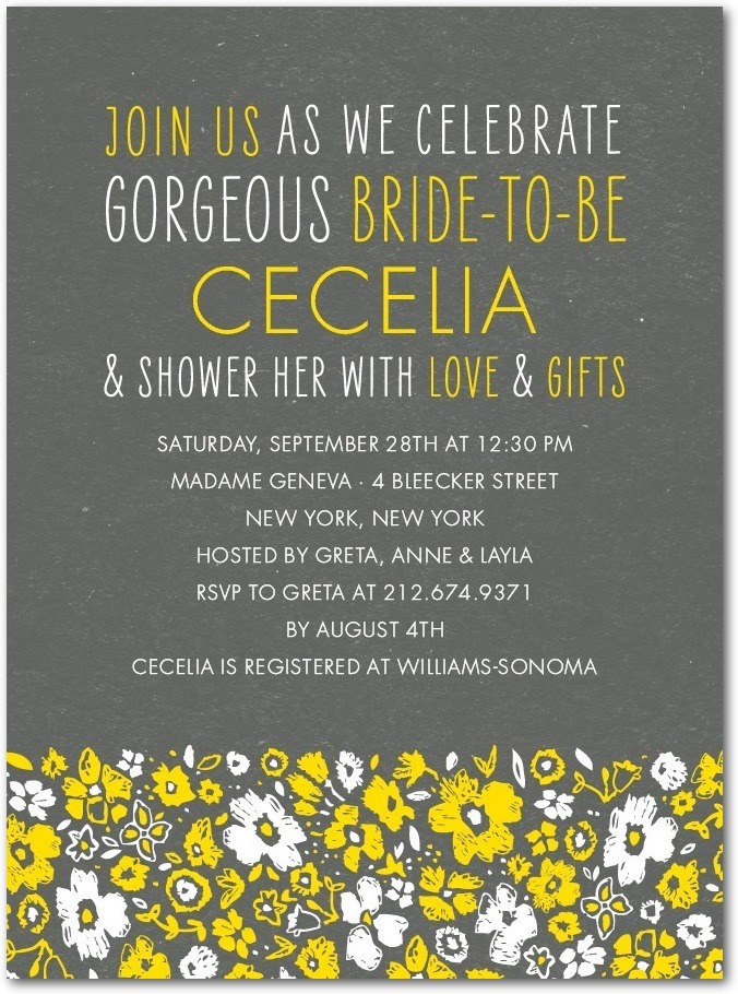 photo of Signature white bridal shower invitations, Chic Chalk Blossoms