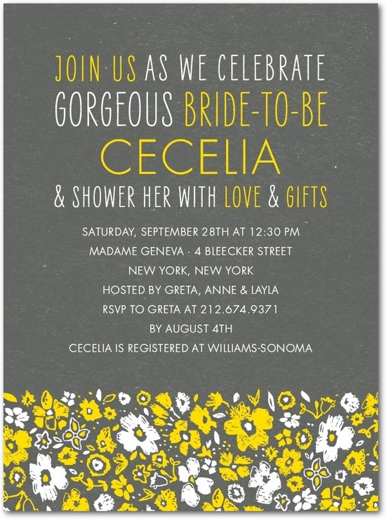 Signature white bridal shower invitations, Chic Chalk Blossoms