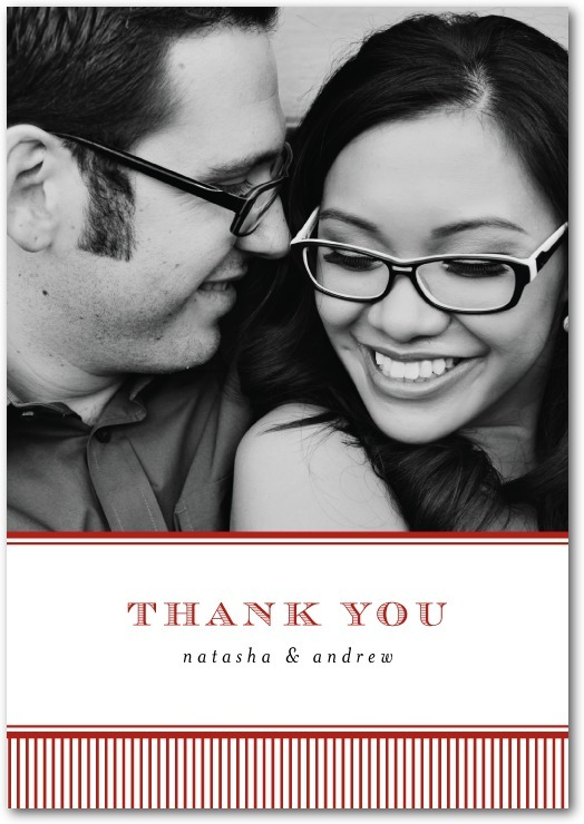 Signature white thank you cards, Swell Stripes
