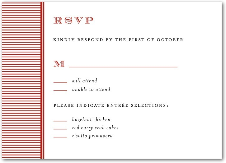 Signature white wedding response cards, Swell Stripes