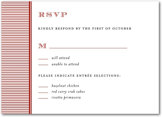 photo of Signature white wedding response cards, Swell Stripes