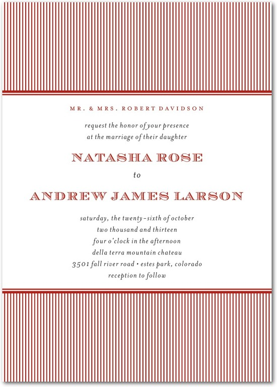 Signature white wedding invitations, Swell Stripes
