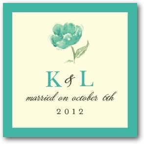 photo of Personalized gift tag stickers, Blooming Watercolor