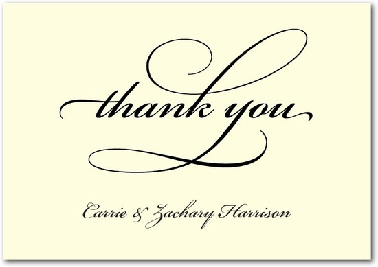 Signature ecru thank you cards, Timeless Calligraphy