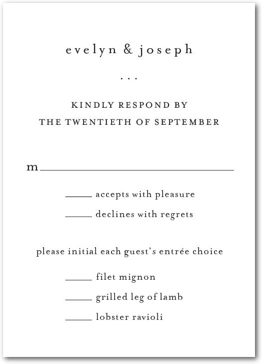Signature white textured response cards, Impeccable Style