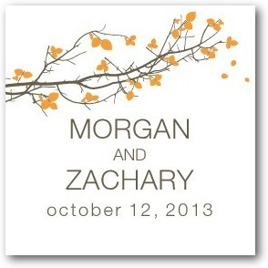 Personalized gift tag stickers, Fall Branch