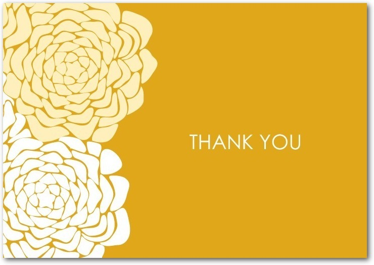 Signature white thank you cards, Royal Roses