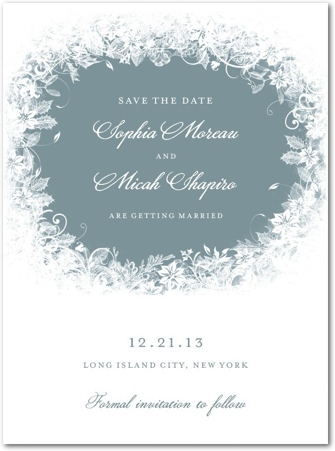 photo of Signature white save the date cards, Enchanted Frost