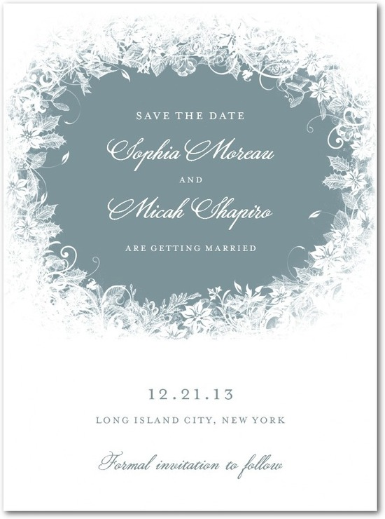 Signature white save the date cards, Enchanted Frost