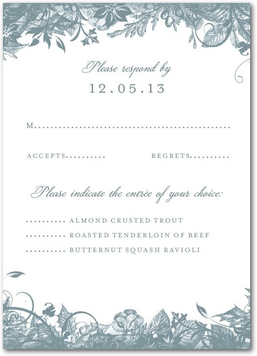Signature white wedding response cards, Enchanted Frost