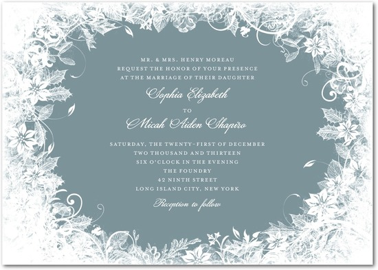 Signature white wedding invitations, Enchanted Frost