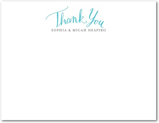 Signature white textured thank you cards, Whimsical Wedding