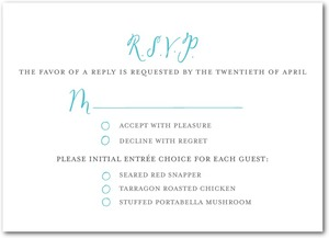 photo of Signature white textured response cards, Whimsical Wedding