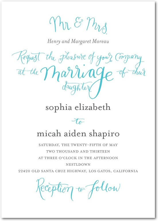 Signature white textured wedding invitations, Whimsical Wedding